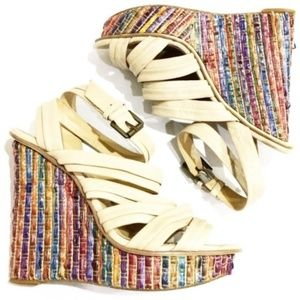Enzo Angiolini Rainbow Straw Pavonis Wedge for sale